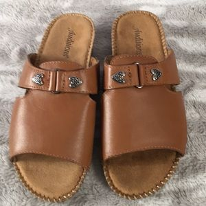 Auditions tan leather slide sandals 8